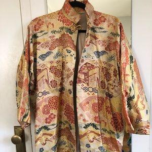 Vintage Asian print jacket/robe w slits, M, gold